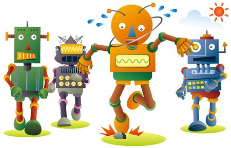 Lovely robots jogging for good healthy. Orange robot tripped on a stone.