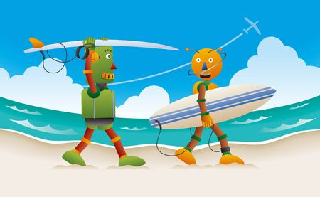 Two robot surfers walking on the beach with surfboard.  写真素材 - 127043240