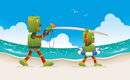 Father and kid robots walking on the beach with surfboard.