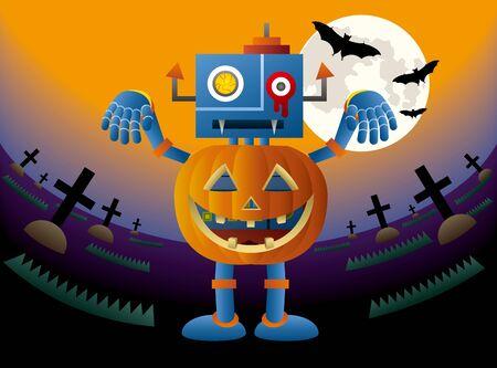 A blue robot wearing a pumpkin at Halloween