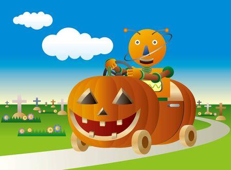 Robot driving a Halloween style pumpkin car Illustration