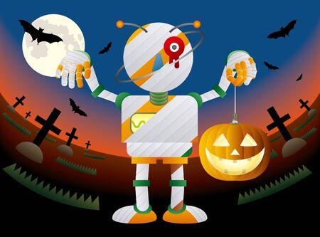 Mummy robot with pumpkin lights at halloween