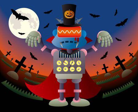 Vampire robot wearing a halloween pumpkin hat Illustration