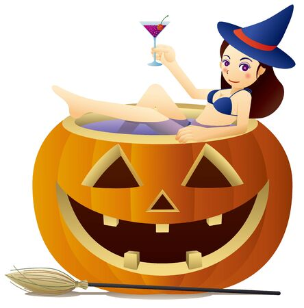 Cute witch drinking cocktail in halloween pumpkin tub