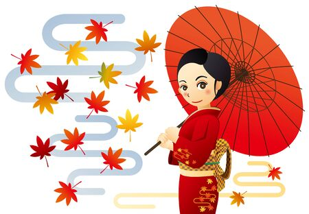 Woman in kimono with autumn leaves