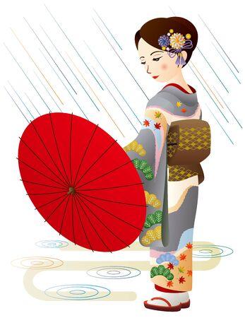 Woman in kimono with rain