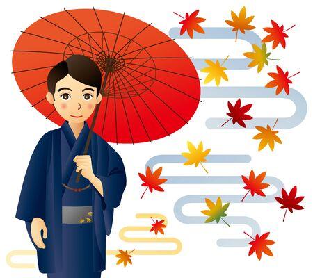 Man in kimono with autumn leaves