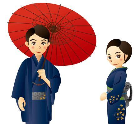 Couple wearing traditional Japanese garment, kimono. White background.