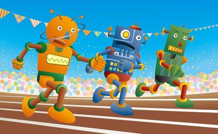 Tres robots corren en la pista de atletismo. Ilustración de vector