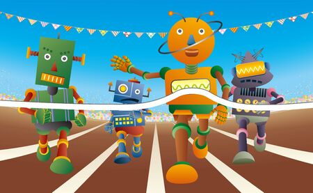 Four robots run at the running track