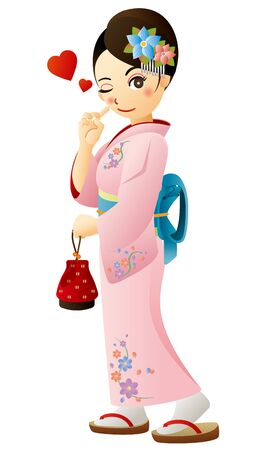 A girl wearing traditional Japanese garment, kimono.