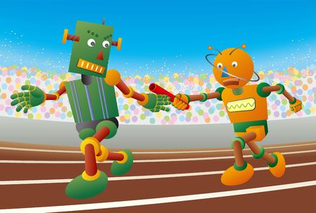 Robot runners passing baton in relay race. 向量圖像