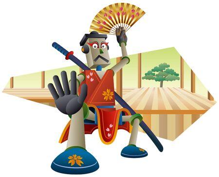 Kabuki robot with a folding fan.