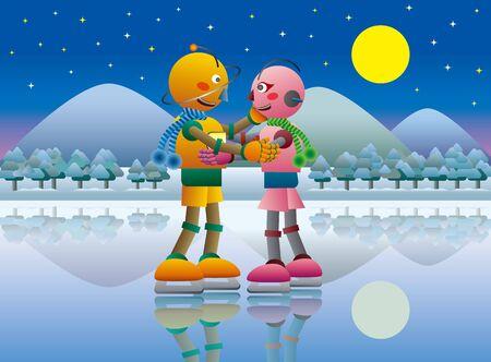 Robot Couple Enjoying Ice Skating on a Frozen Lake at Night.