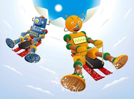 Two robots enjoying sledding on a sunny winter day Illustration