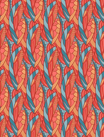 Seamless floral pattern. Fabric leaf texture. Living coral color.