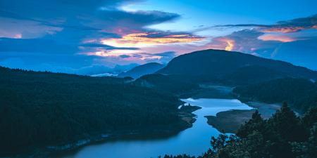 Cueifong Lake Sunrise from Taipingshan National Forest Recreation Area in Yilan, Taiwan.