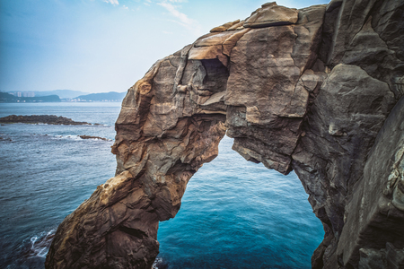 Elephant Trunk Rock in Shenao of Ruifang District, New Taipei, Taiwan. 免版税图像