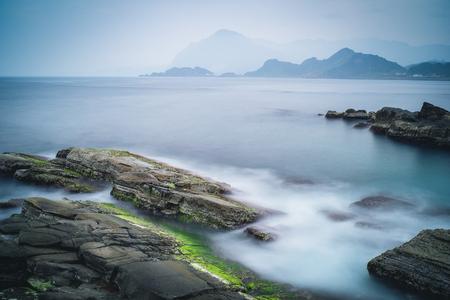 Kustlandschap van Chaojing Park in Zhongzheng District, Keelung, Taiwan. Stockfoto