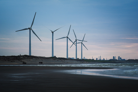 Wind Farm of Coastal in Dayuan District, Taoyuan, Taiwan. Stock Photo