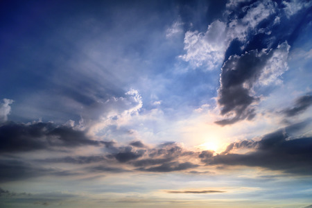 Beautiful Sunlight of the Ray and Cloudscape in Blue Sky. Stock Photo