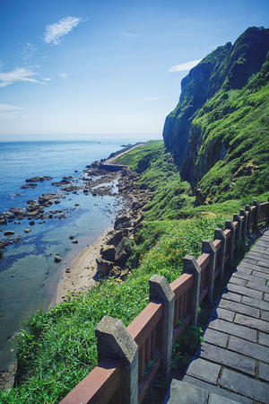 Hope Valley Coast Landscape from Badouzi Coastal Park in Zhongzheng District, Keelung, Taiwan. Stock Photo