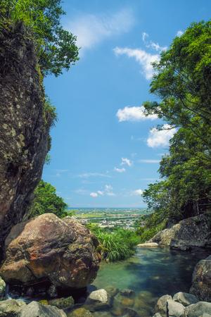 Houdongkeng (Monkey Cave) Waterfall in Jiaoxi, Yilan, Taiwan.