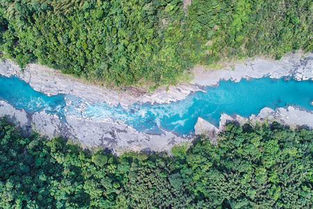 Blue River Aerial Photography - Birds eye view use the drone photography on sunny day, blue and clear river, shot in Fuxin g District, Taoyuan, Taiwan.