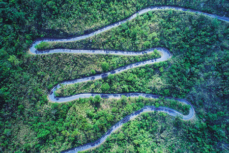 Winding Road Aerial Photography - Road in forest on the mountain birds eye view use the drone photography, with sunlight ND shadow in afternoon, shot in Toucheng Township, Yilan, Taiwan. Stok Fotoğraf