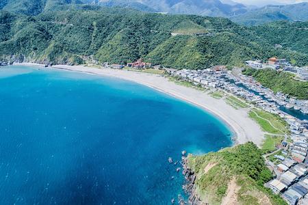 Neipi Beach Aerial Photography - Neipi Beach of Nanfangao with blue ocean birds eye view use the drone photography on sunn y day, shot in Nanfangao of Suao Township, Yilan, Taiwan.