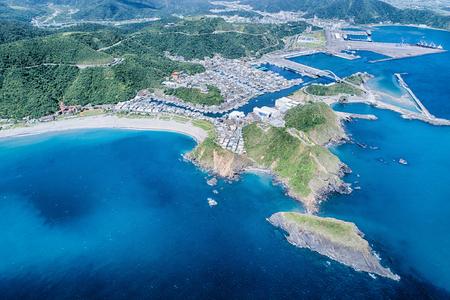 Nanfangao Aerial Photography - Nanfangao with blue ocean birds eye view use the drone photography on sunny day, shot in Su AO Township, Yilan, Taiwan. Stok Fotoğraf