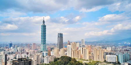 Taipei, Taiwan - Jan 11, 2018: Taipei is a capital city of Taiwan. Asia business concept image, panoramic modern cityscape building bird's eye view, shot in Taipei, Taiwan.