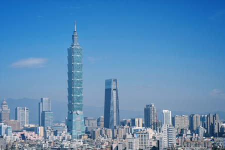 Taipei, Taiwan - Jan 16, 2018: Taipei is a capital city of Taiwan. Asia business concept image, panoramic modern cityscape building bird's eye view, shot in Taipei, Taiwan. Editorial