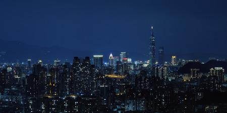 Taipei, Taiwan Night View - Asia business city concept image, modern cityscape building in Taipei, Taiwan.