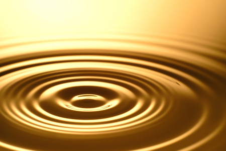 Water Drop - Pure clear and transparent of water and ripple in gold background. Creative modern concept, for graphic design, website, poster, placard and wallpaper.