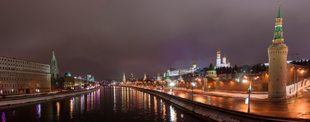 Night panoramic view of Moscow river, Sofia embankment and Moscow Kremlin in wintertime as viewed from Large Moskvoretsky bridge