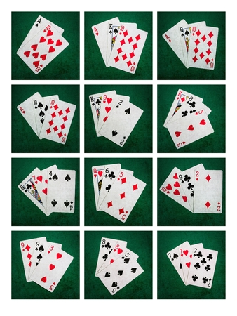 Collage Twenty One. Collage of 12 photos of playing cards forming the blackjack combinations of twenty one points photo