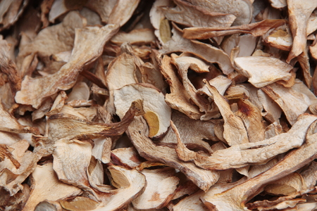 porcini: A collection of dried porcini mushrooms Stock Photo