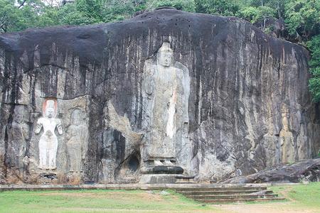 unesco world cultural heritage: Buduruwagala Buddha in Sri Lanka Stock Photo