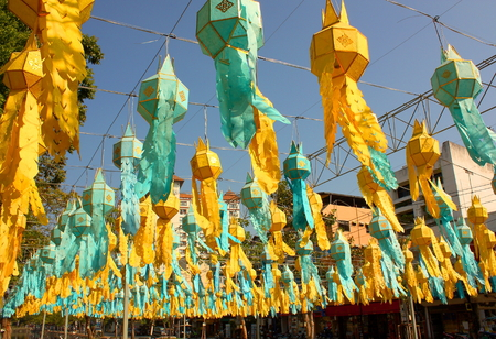 Colorful paper festoons in a public square in Chiang Mai Thailand
