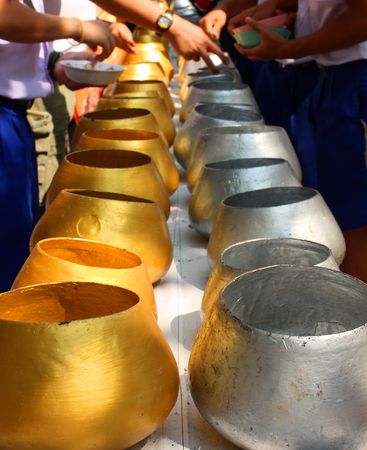 limosna: Gold and Silver monk alms bowls Thailand