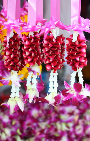 festoons: Floral garland festoons in Thailand Stock Photo