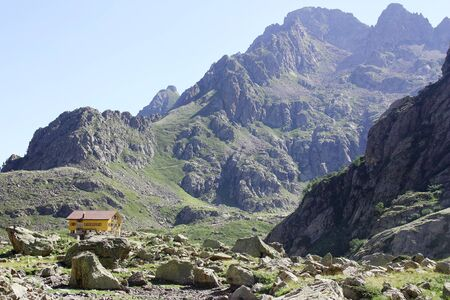 refuge: Mountain hut in the Italian Alps (Genova refuge)