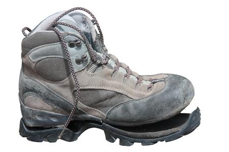 Trekking shoe broken after intensive use (isolated)