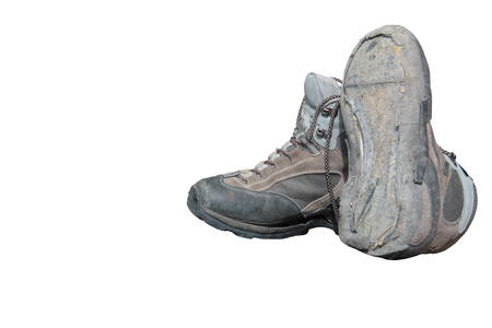 Trekking shoes broken after intensive use (isolated)
