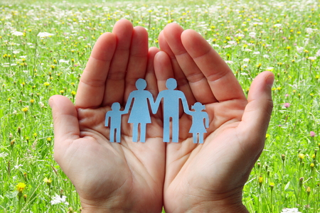 Paper family in hands on green meadow background concept welfare Stock Photo