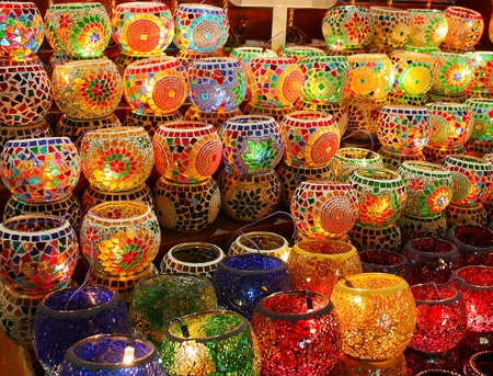 Geometric patterns on colorful turkish lamps