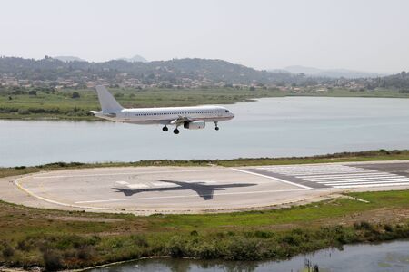 Airplane landing on a runway