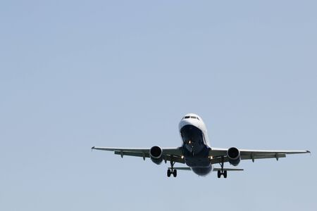 Airplane approaching the runaway airport