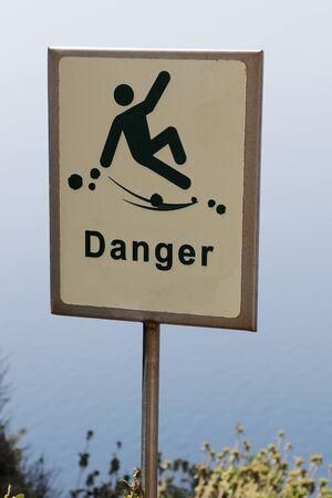 Danger of falling hazard sign